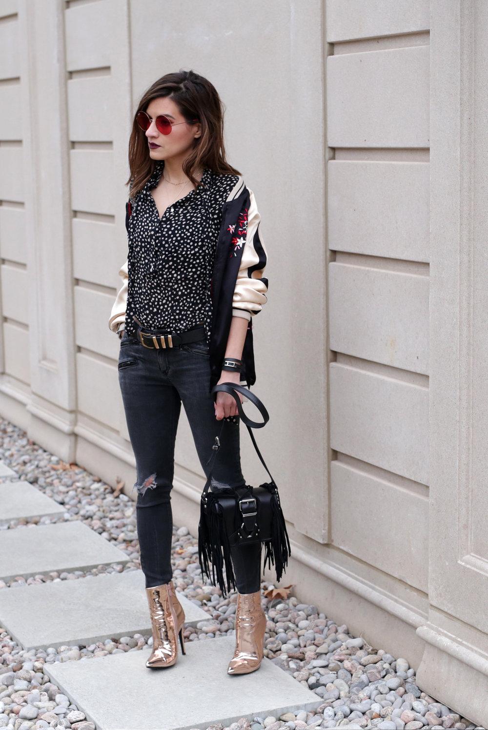 Gold boots, floral embroidered bomber jacket, red tinted round glasses, The Kooples fringe handbag _3531.jpg