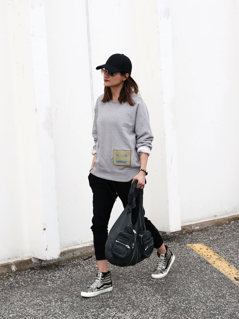 3 Ways To Rock Athleisure Wear - Leather Jacket, Acne Sweater, Alexander Wang Donna bag, metallic Vans sneakers_7641.JPG