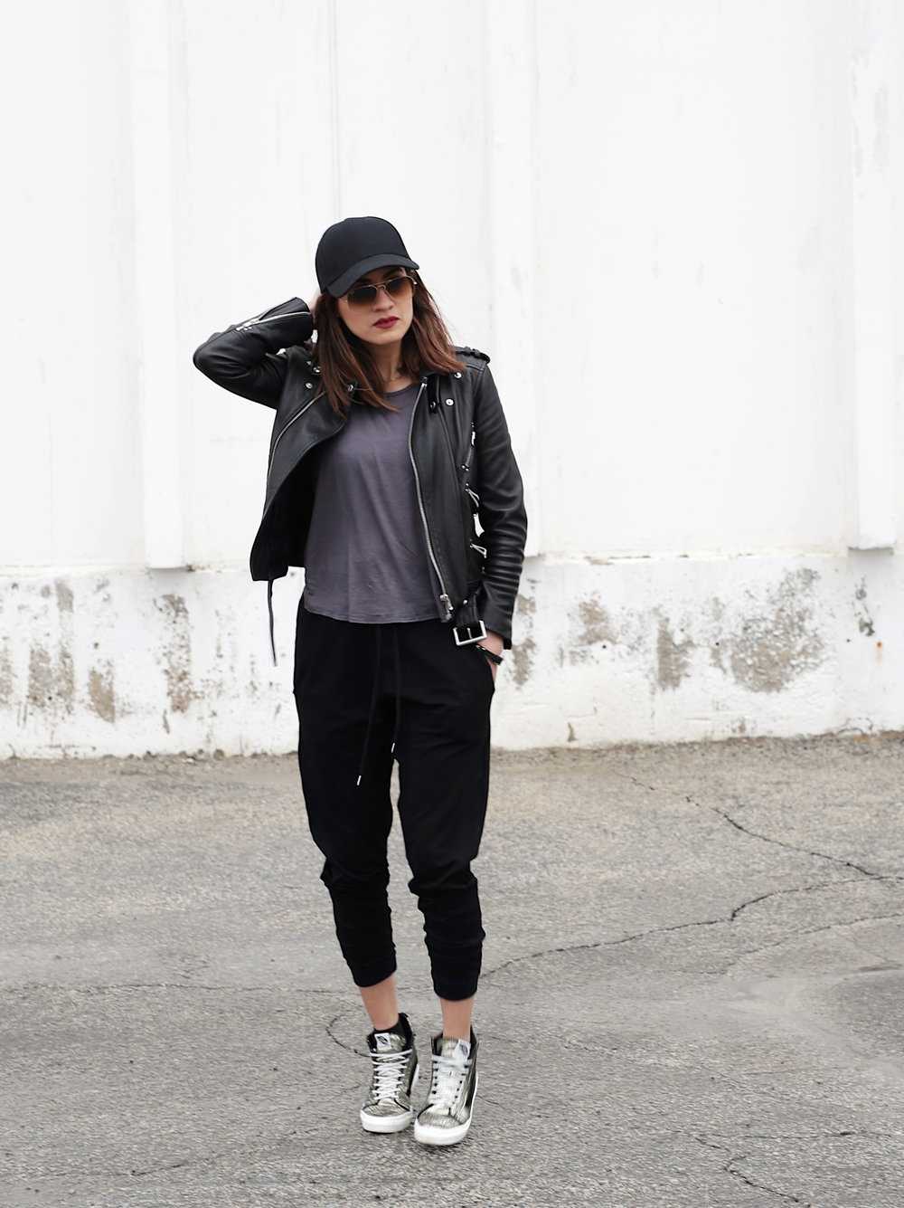 3 Ways To Rock Athleisure Wear - Leather Jacket, Acne Sweater, Alexander Wang Donna bag, metallic Vans sneakers_7631.JPG