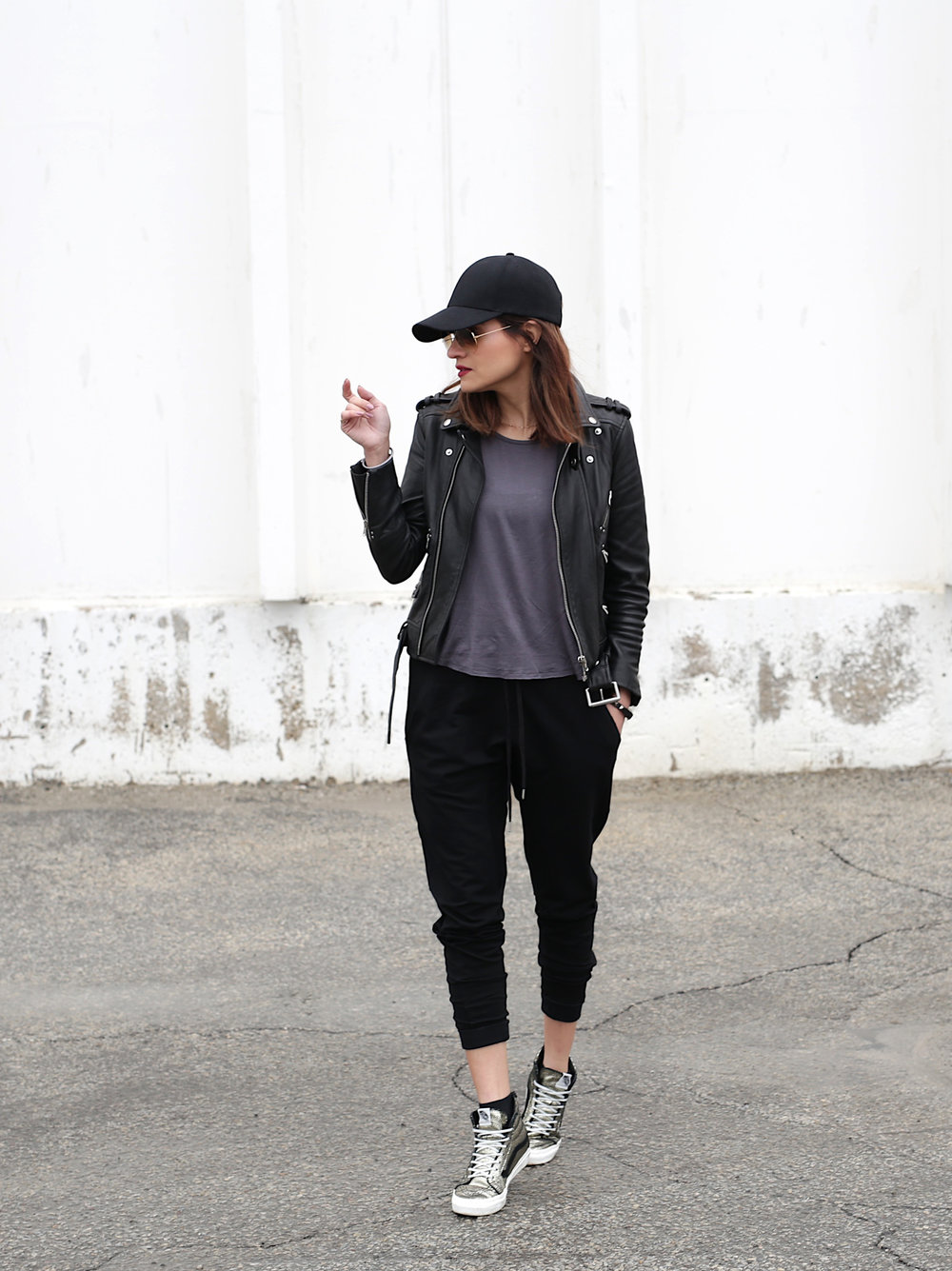 3 Ways To Rock Athleisure Wear - Leather Jacket, Acne Sweater, Alexander Wang Donna bag, metallic Vans sneakers_7630.JPG