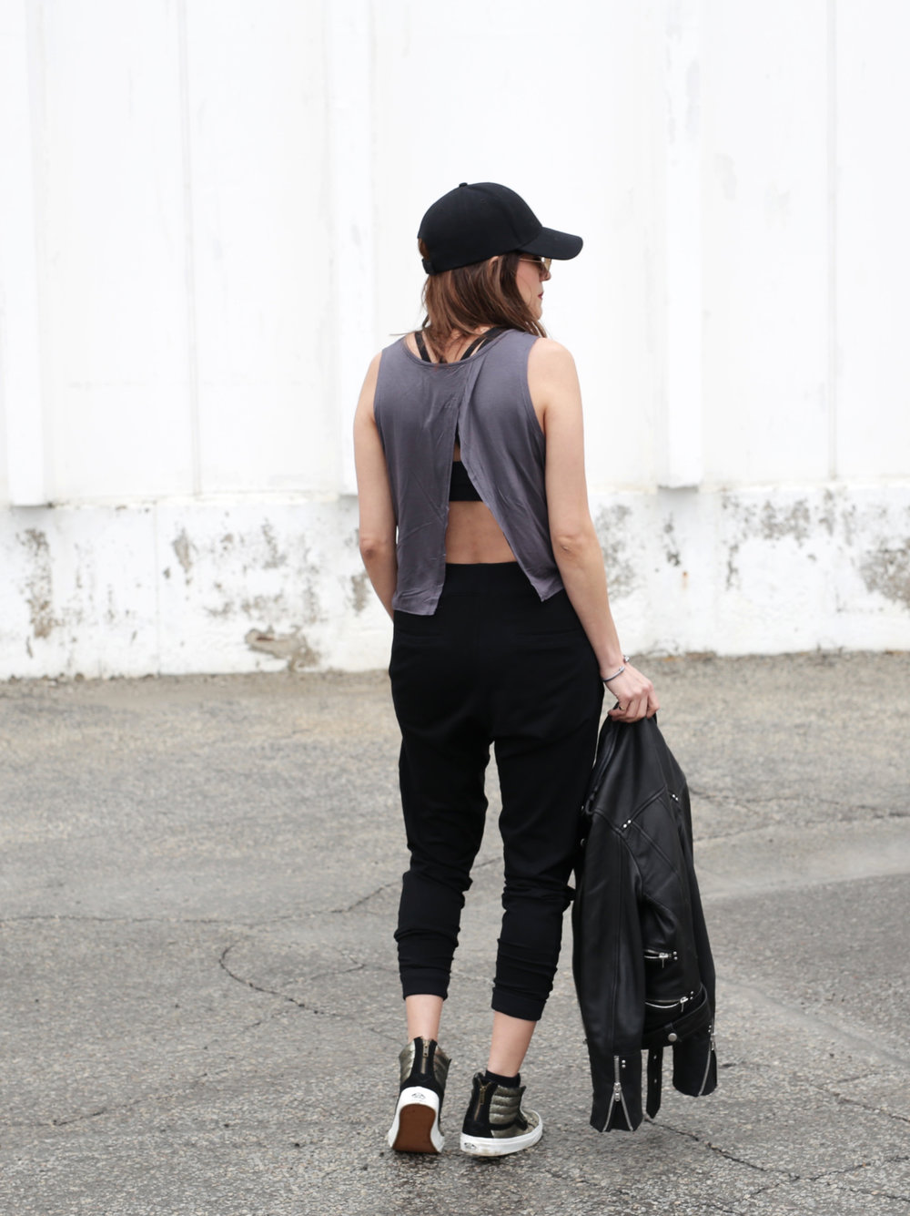 3 Ways To Rock Athleisure Wear - Leather Jacket, Acne Sweater, Alexander Wang Donna bag, metallic Vans sneakers_7634.JPG