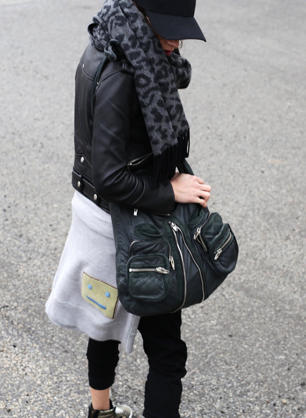 3 Ways To Rock Athleisure Wear - Leather Jacket, Acne Sweater, Alexander Wang Donna bag, metallic Vans sneakers_7632.JPG