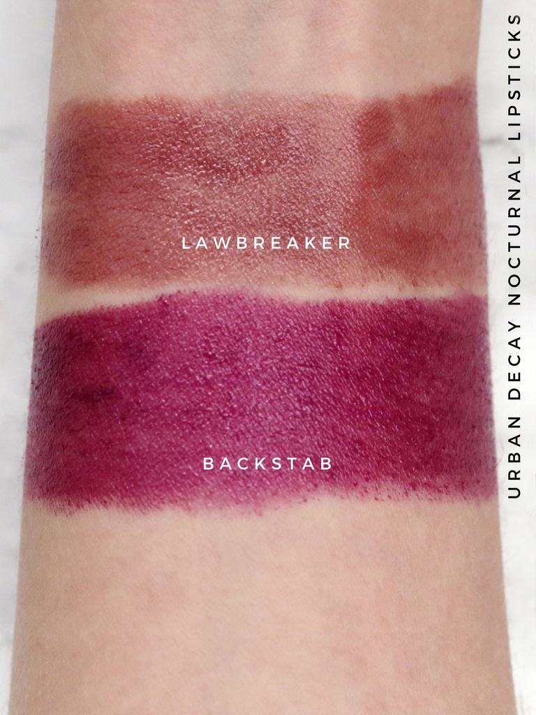 Urban Decay Nocturnal collection + swatches - vice lipsticks - lawbreaker and backstab swatches.jpg