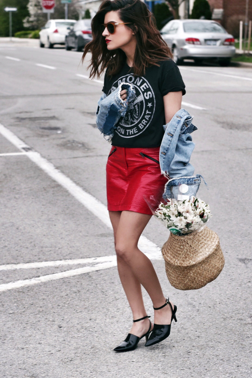 Topshop red vinyl skirt and Alexander Wang kitten heels paired with a graphic concert tee from Zara_8373.JPG