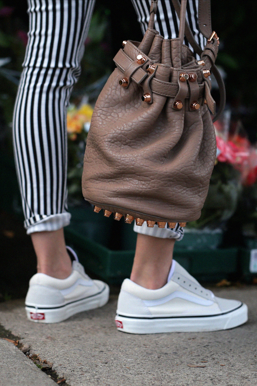 vans DIY denim star jacket, old skool sneakers, striped rag and bone jeans and Alexander Wang Diego bag in tan and rose gold hardware _7041.jpg
