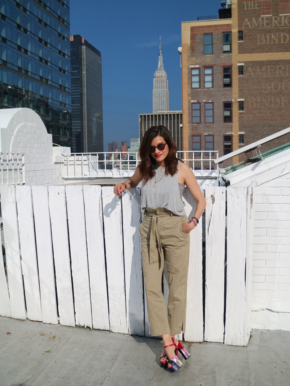 zara pants, grey top, metallic saint laurent platform sandals in New York City_3122.jpg