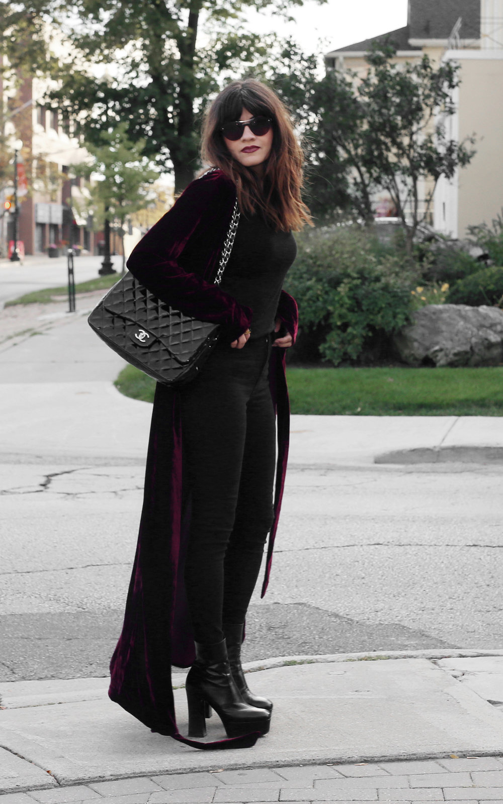 velvet duster coat street style - chanel patent leather jumbo bag, saint  laurent platform boots 2416 93790ffdfc