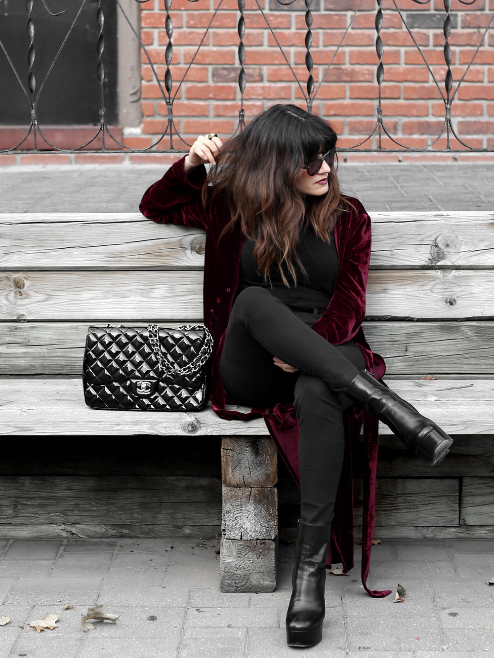 velvet duster coat street style - chanel patent leather jumbo bag, saint laurent platform boots_2487.JPG