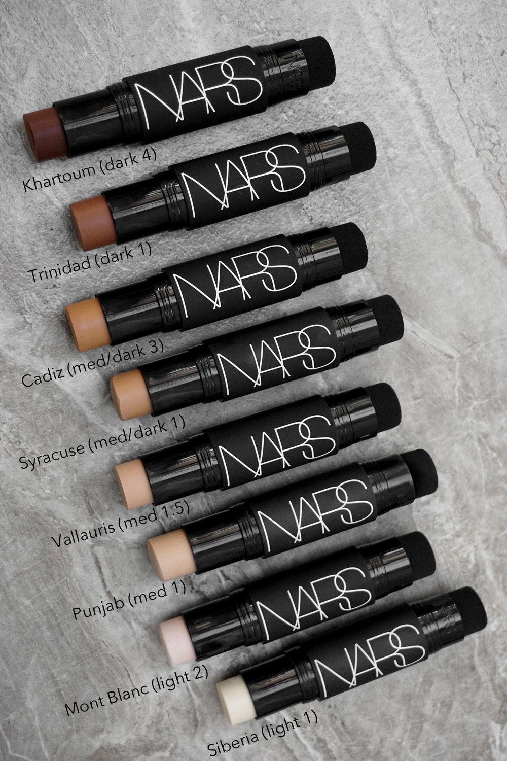 Nars Velvet Matte Foundation Stick swatches.jpg