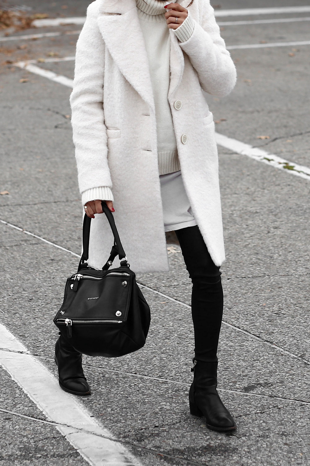 Winter White oversized knit, coat, leather leggings, Givenchy leopard print studded boots and Givenchy Pandora bag street style_2696 copy.jpg