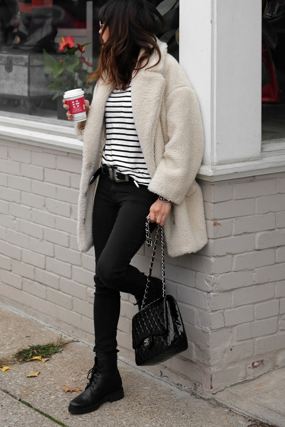 Fuzzy Topshop coat, striped top, black skinny jeans and patent leather Chanel jumbo bag street style - rocker chic - parisian style - french style_2876.jpg
