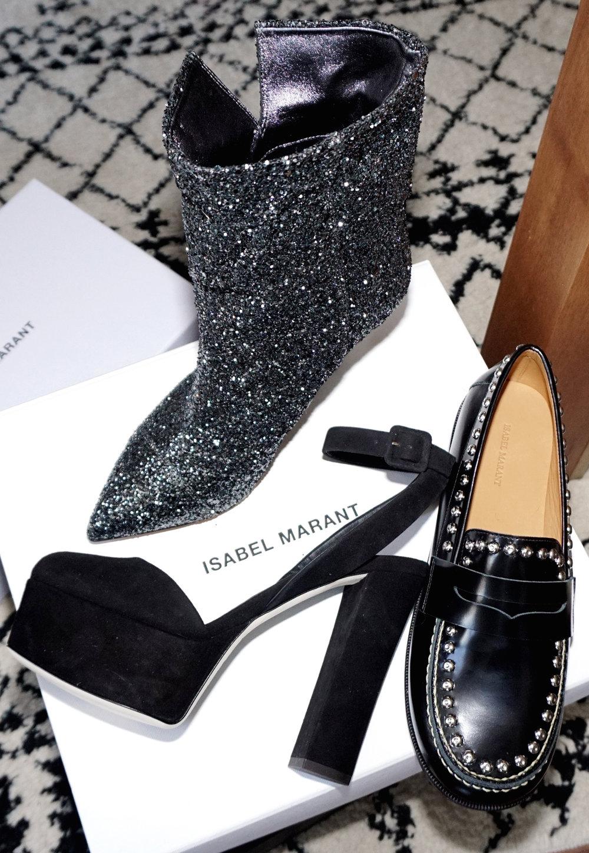 My latest sale haul:GIUSEPPE ZANOTTIBlack Suede Lavinia Platform Heels // ISABEL MARANTBlack Fenzay Studded Loafers // ISABEL MARANTGunmetal Glitter Luliana Boots