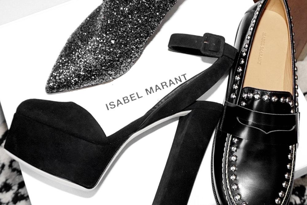 my sale shoe haul from ssense.com - GIUSEPPE ZANOTTI  Black Suede Lavinia Platform Heels :: ISABEL MARANT Black Fenzay Studded Loafers, $244 :: ISABEL MARANT Gunmetal Glitter Luliana Boots - woahstyle.com - nathalie martin copy 3.jpg
