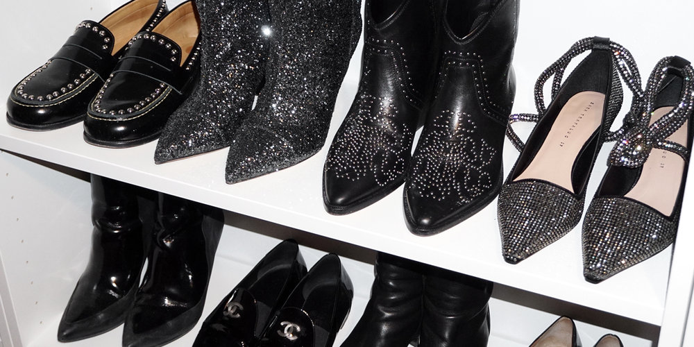 Black Dollan Studded Boots, GUNMETAL GLITTER LULIANA BOOTS, Fenzay Studded Loafers, Chanel black patent leather loafers - closet - woahstyle.com-nathalie martin-06314.jpg