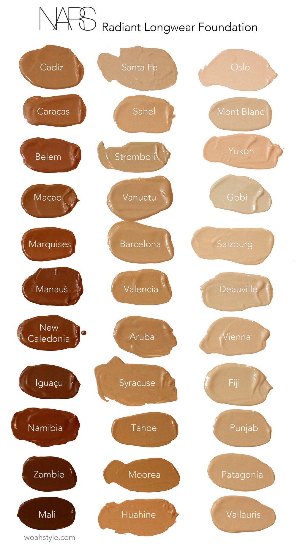 NARS Radiant Longwear Foundation Review and swatches - full collection- woahstyle.com-1.jpg