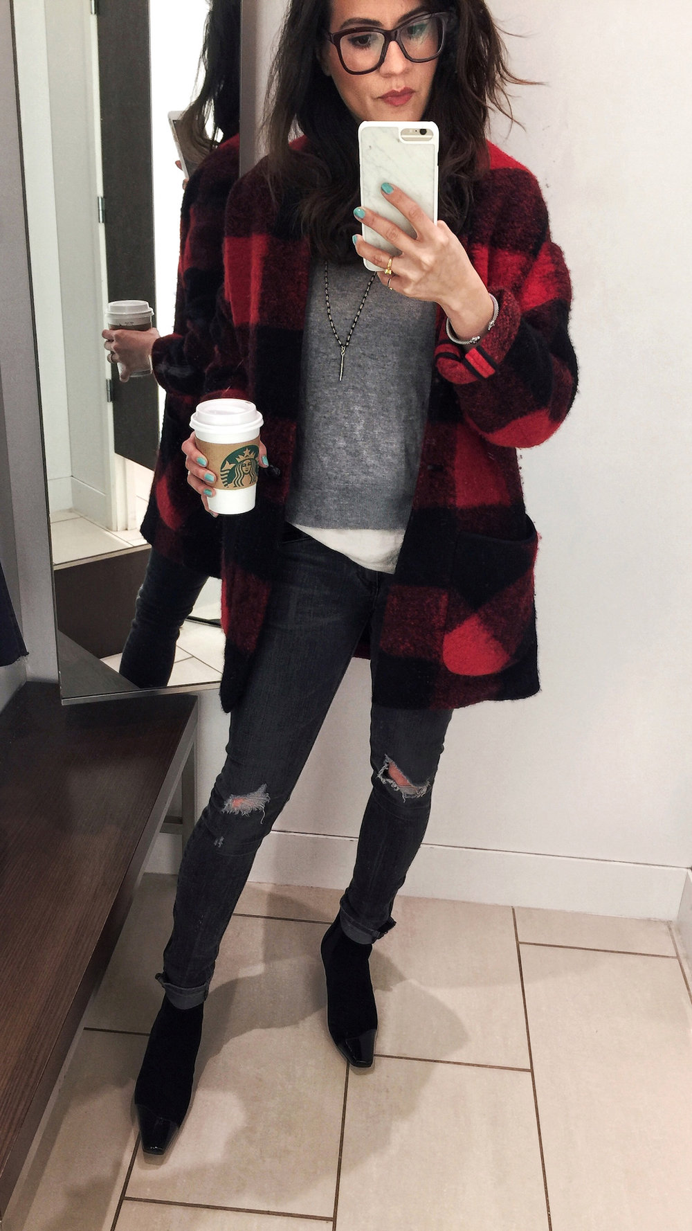 woahstyle.com - 365 outfits - day 7 spring 2018 - loewe velvet patent leather kitten heel boots, aritzia red plaid coat, french style, nathalie martin 7.jpg