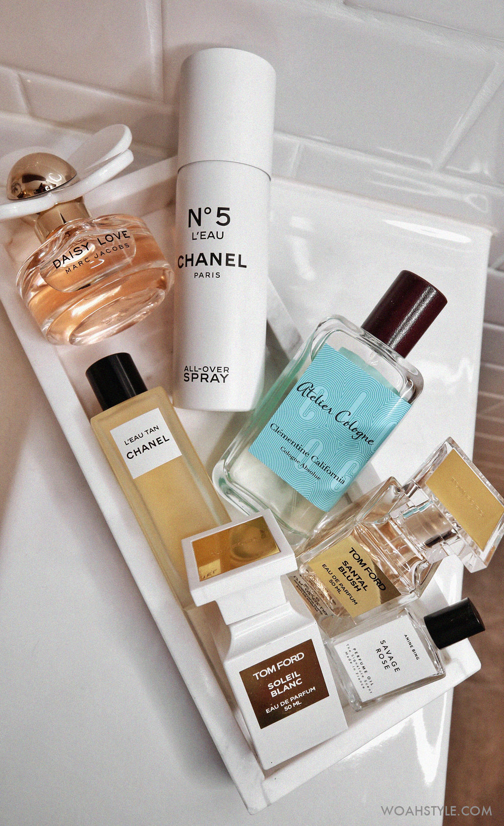 7 FABULOUS SUMMER SCENTS - Marc Jacobs Daisy Love, CHANEL No 5 L'eau, L'eau Tan, Atelier Cologne Clementine California, Tom Ford Santal Blush, Soleil Blanc, Anine Bing, Savage Rose - woahstyle.com - nathalie martin.jpg