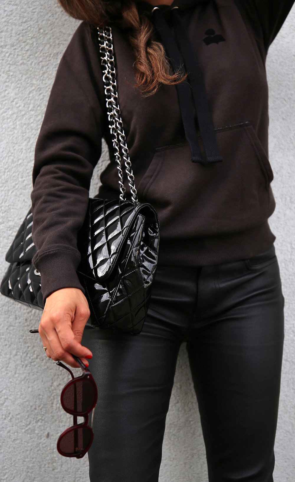 Isabel Marant Malibu Hoodie, Mackage leather jeans pants, Givenchy floral studded Elegant Line boots, Chanel patent leather flap bag - street style - woahstyle.com, nathalie martin 10.jpg