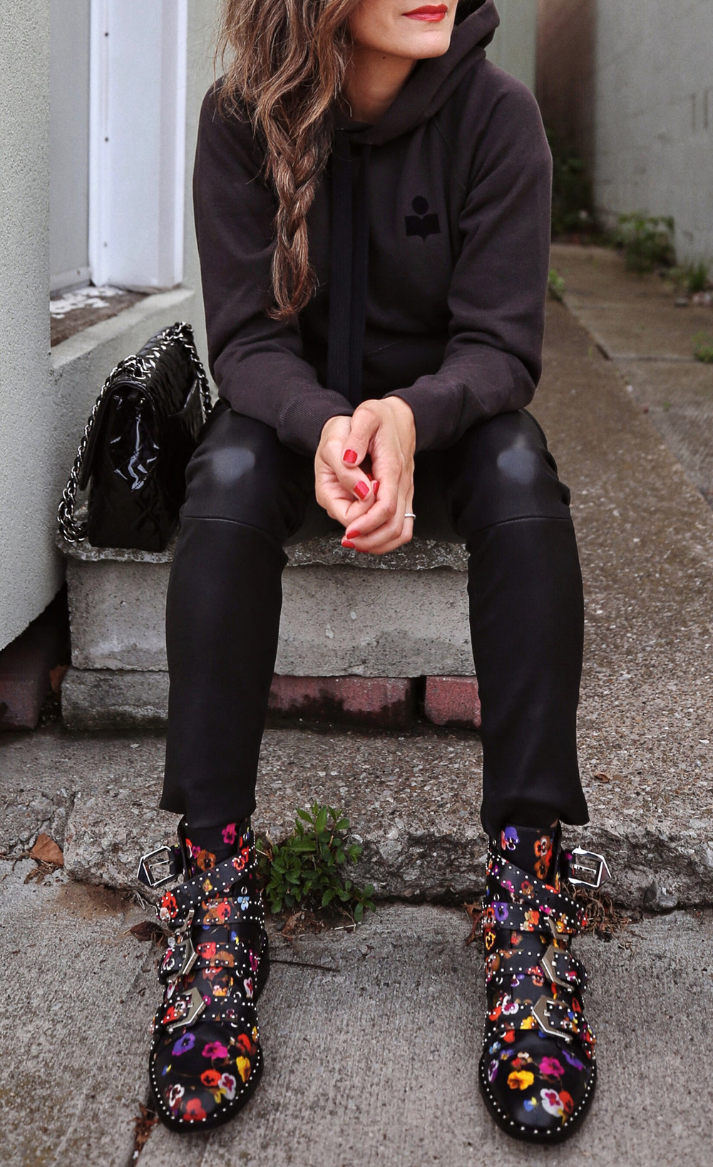 Isabel Marant Malibu Hoodie, Mackage leather jeans pants, Givenchy floral studded Elegant Line boots, Chanel patent leather flap bag - street style - woahstyle.com, nathalie martin.JPG