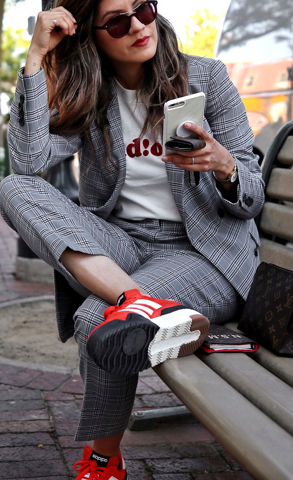 fw18 street style plaid suit women - menswear inspired - nordstrom - alexander wang Orange red AW BBall Soccer Sneakers, louis vuitton small agenda 8.JPG