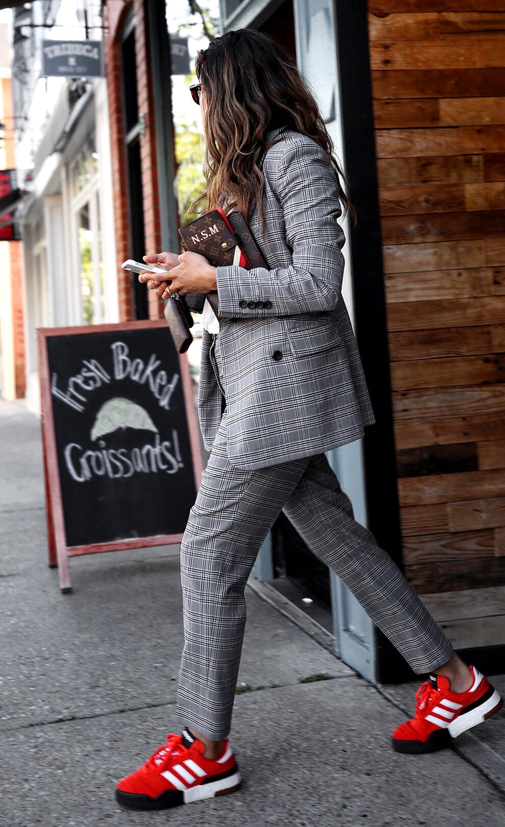 fw18 street style plaid suit women - menswear inspired - nordstrom - alexander wang Orange red AW BBall Soccer Sneakers, louis vuitton small agenda 7.JPG