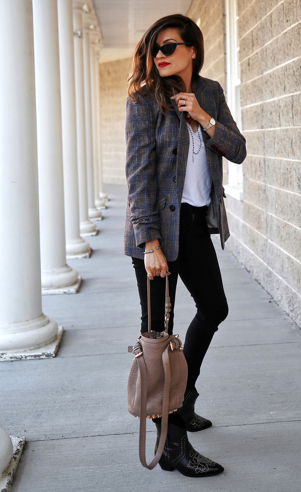 Veronica Beard plaid blazer, Rag & Bone black skinny jeans, Isabel Marant black studded Dollan cowboy boots, Alexander Wang tanned Diego bag with rosegold hardwaare, street style, woahstyle.com by nathalie martin  19.jpg