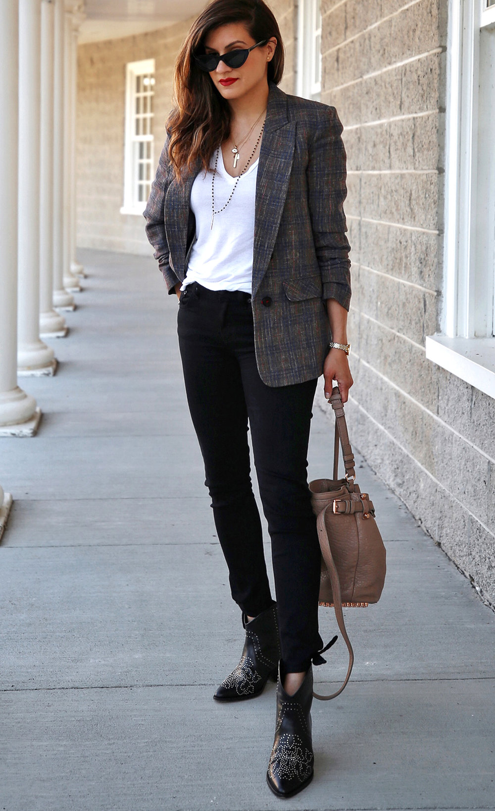 Veronica Beard plaid blazer, Rag & Bone black skinny jeans, Isabel Marant black studded Dollan cowboy boots, Alexander Wang tanned Diego bag with rosegold hardwaare, street style, woahstyle.com by nathalie martin  18.jpg