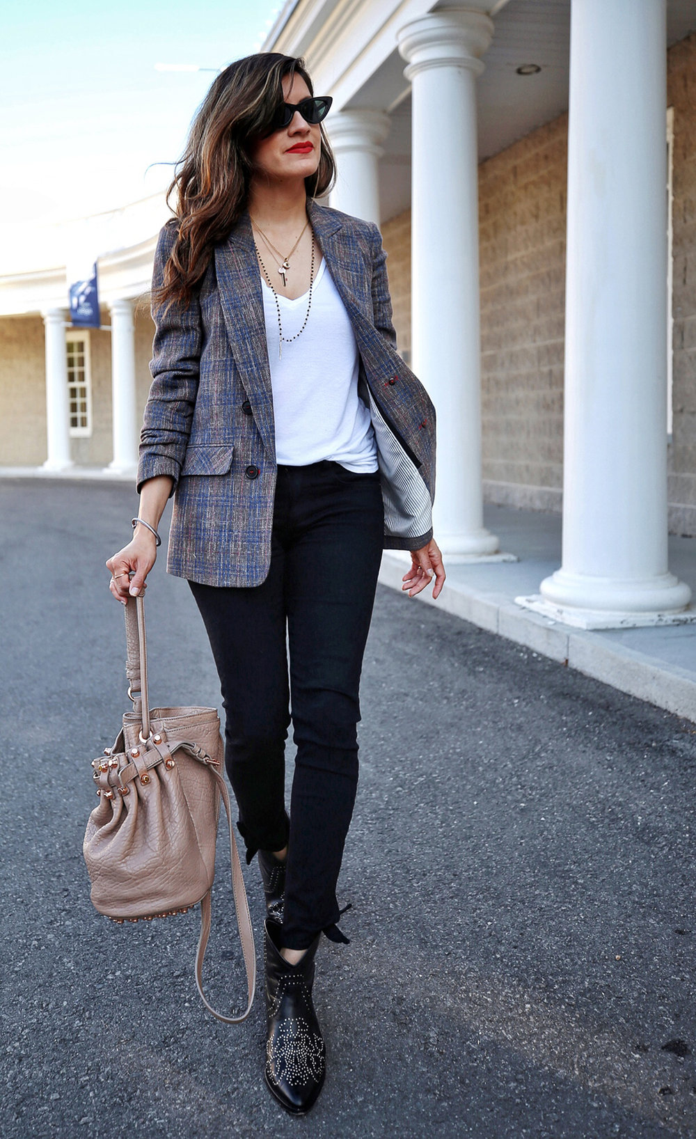 Veronica Beard plaid blazer, Rag & Bone black skinny jeans, Isabel Marant black studded Dollan cowboy boots, Alexander Wang tanned Diego bag with rosegold hardwaare, street style, woahstyle.com by nathalie martin  13.jpg
