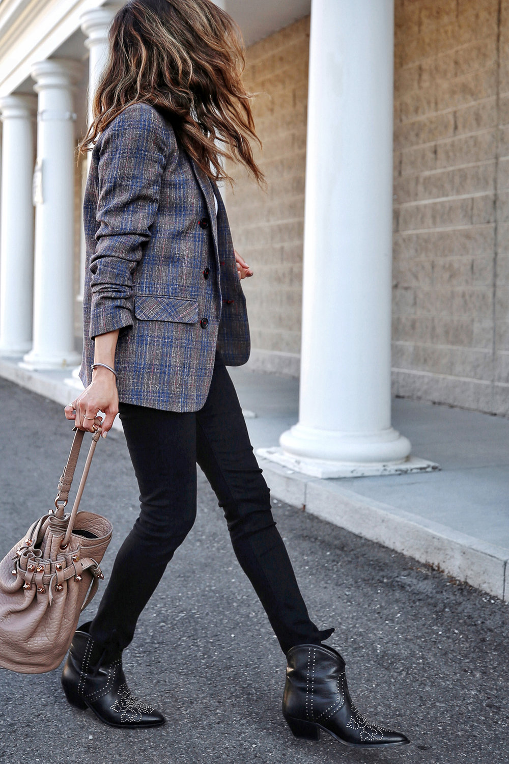 Veronica Beard plaid blazer, Rag & Bone black skinny jeans, Isabel Marant black studded Dollan cowboy boots, Alexander Wang tanned Diego bag with rosegold hardwaare, street style, woahstyle.com by nathalie martin  12.jpg