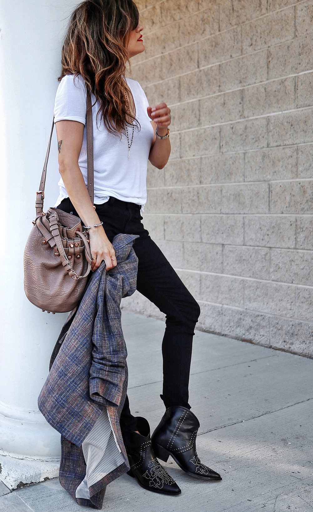Veronica Beard plaid blazer, Rag & Bone black skinny jeans, Isabel Marant black studded Dollan cowboy boots, Alexander Wang tanned Diego bag with rosegold hardwaare, street style, woahstyle.com by nathalie martin  14.jpg