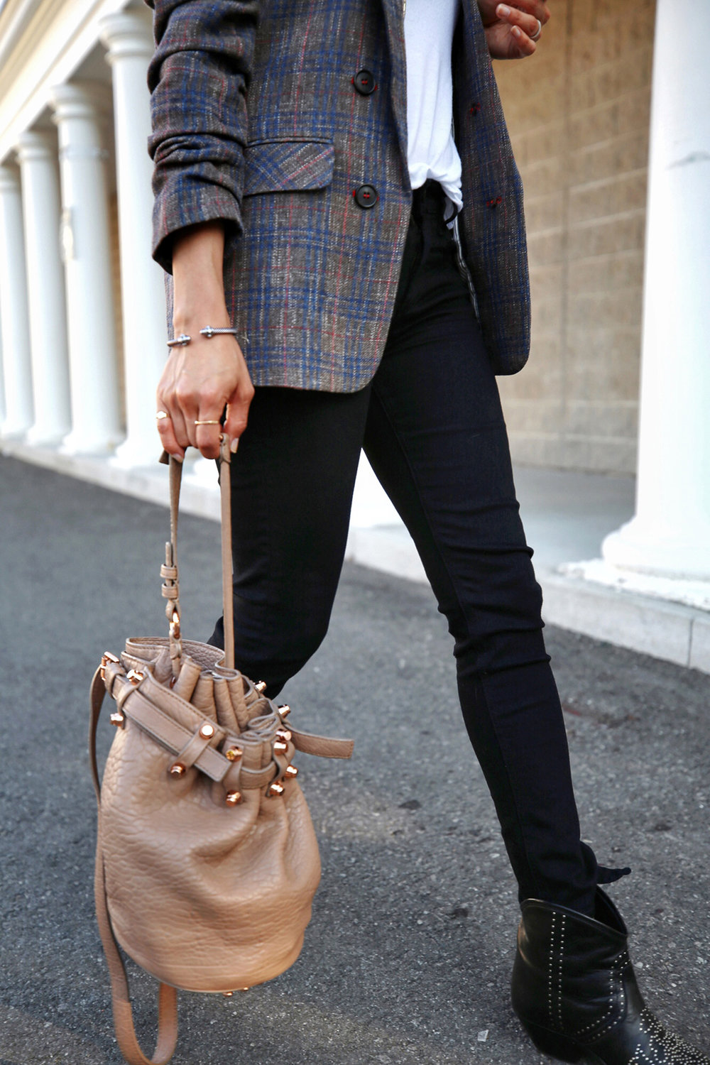 Veronica Beard plaid blazer, Rag & Bone black skinny jeans, Isabel Marant black studded Dollan cowboy boots, Alexander Wang tanned Diego bag with rosegold hardwaare, street style, woahstyle.com by nathalie martin  10.jpg