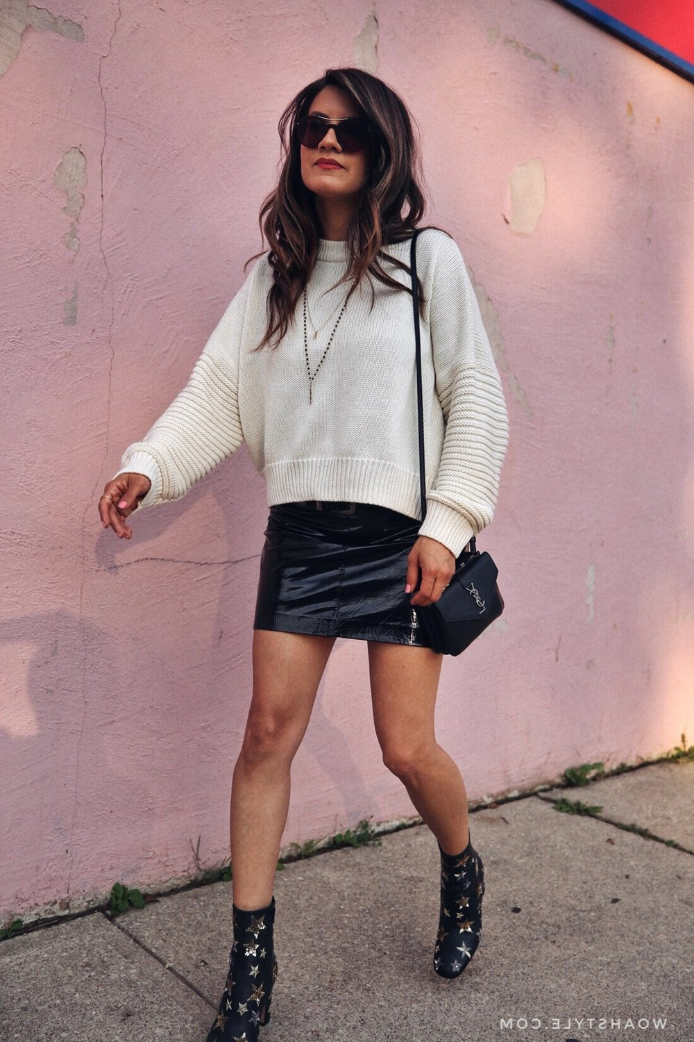 patent leather vinyl skirt, white knitted sweater, saint laurent wallet on a string cross body bag, valentino star studded ankle boots, street style, woahstyle.com, nathalie martin 10.jpg