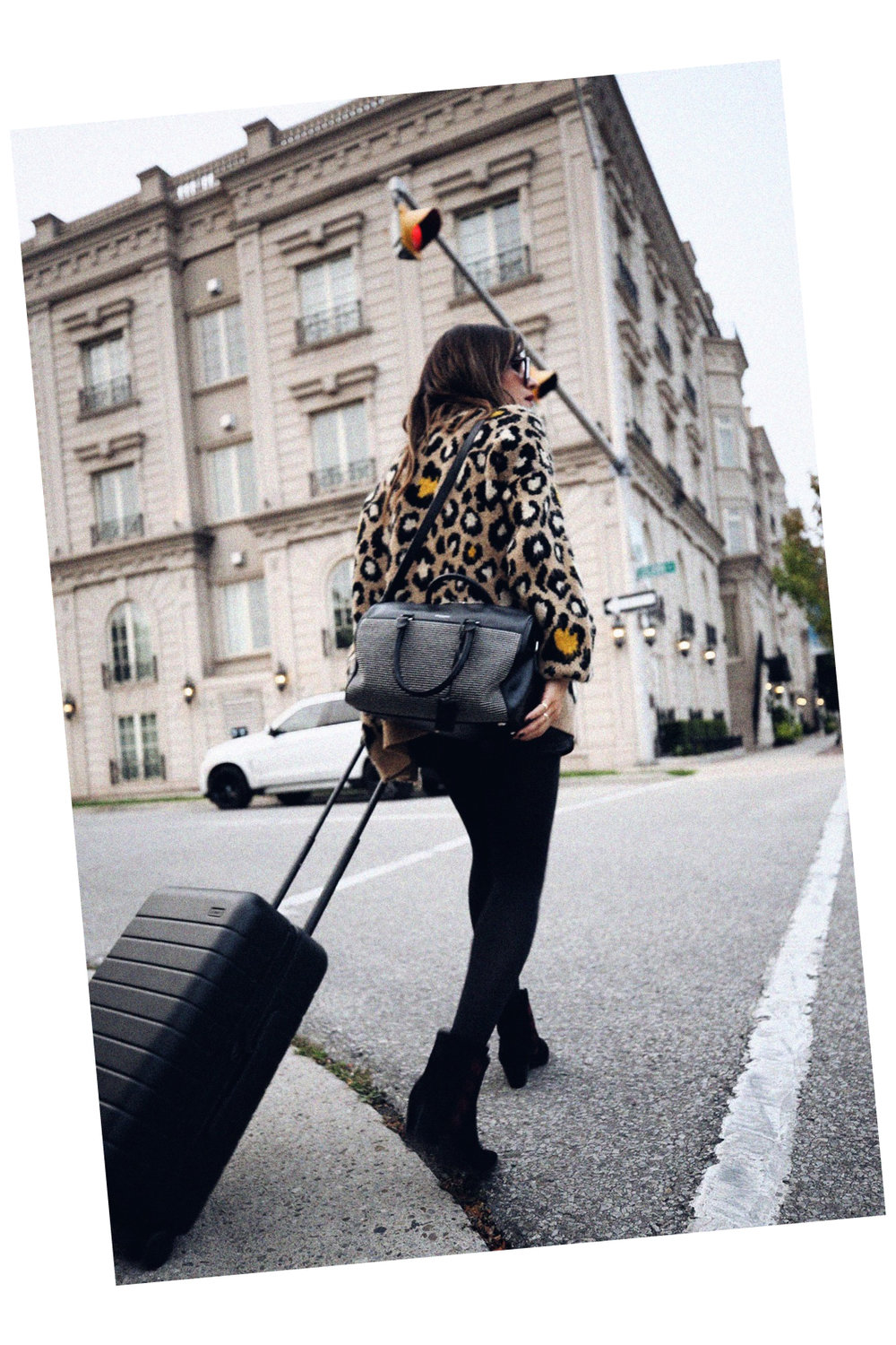 saint laurent studded duffle by hedi slimane, leopard print cardigan, striped tshirt, edie sedwick inspired, away luggage carry on  - woahstyle.com 8.jpg
