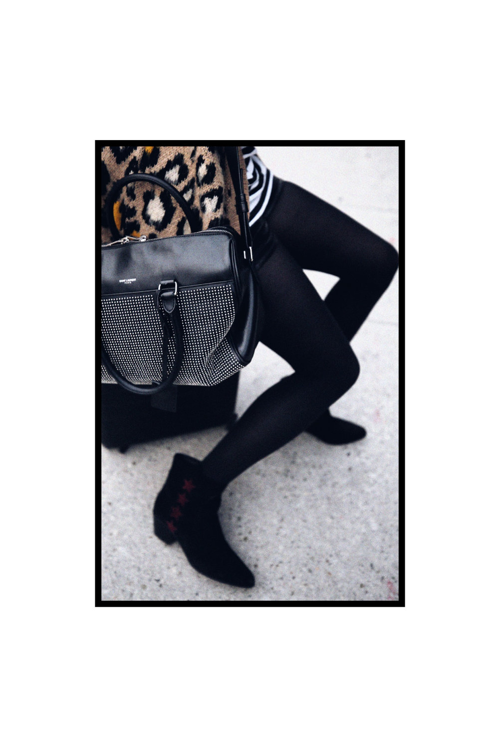 saint laurent studded duffle by hedi slimane, leopard print cardigan, striped tshirt, edie sedwick inspired, away luggage carry on, saint laurent star cowboy boots  - woahstyle.com 9.jpg
