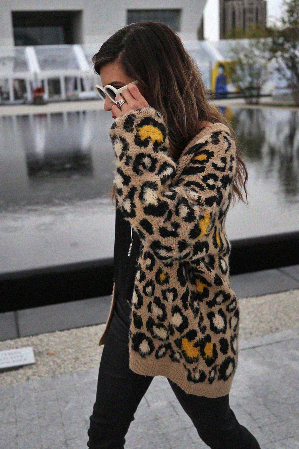 Fall 2018 street style - leopard print cardigan, Mackage leather pants, Cartel boots - Aga Khan Museum - photos by woahstyle.com_9713.jpg