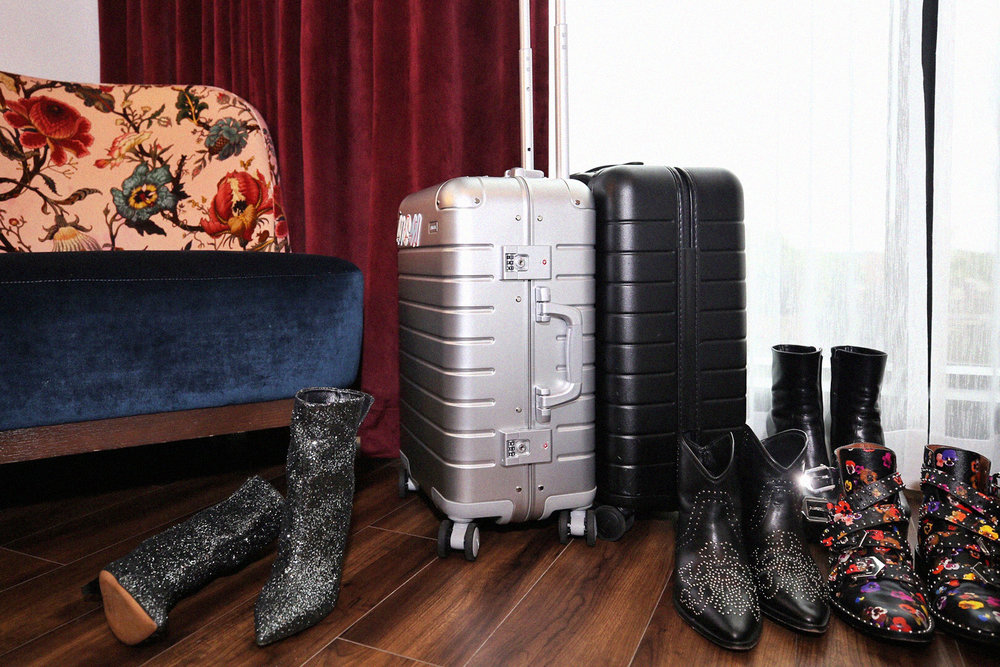 Isabel Marant glittery boots, studded cowboy boots, Givenchy studded floral boots, AWAY carry on luggage aluminum vs the original - shot at the Broadview Hotel, Toronto - photos by woahstyle.com_9841.jpg