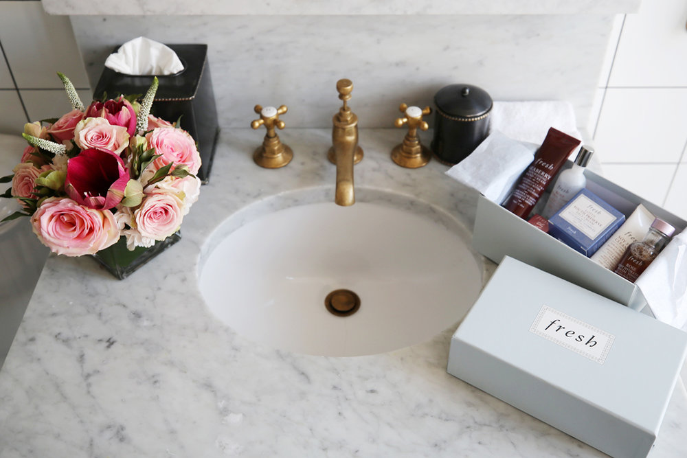 marble bathroom vanity at the Ludlow Hotel NY with Fresh Beauty, photos by Nathalie Martin, woahstyle.com_0737.jpg