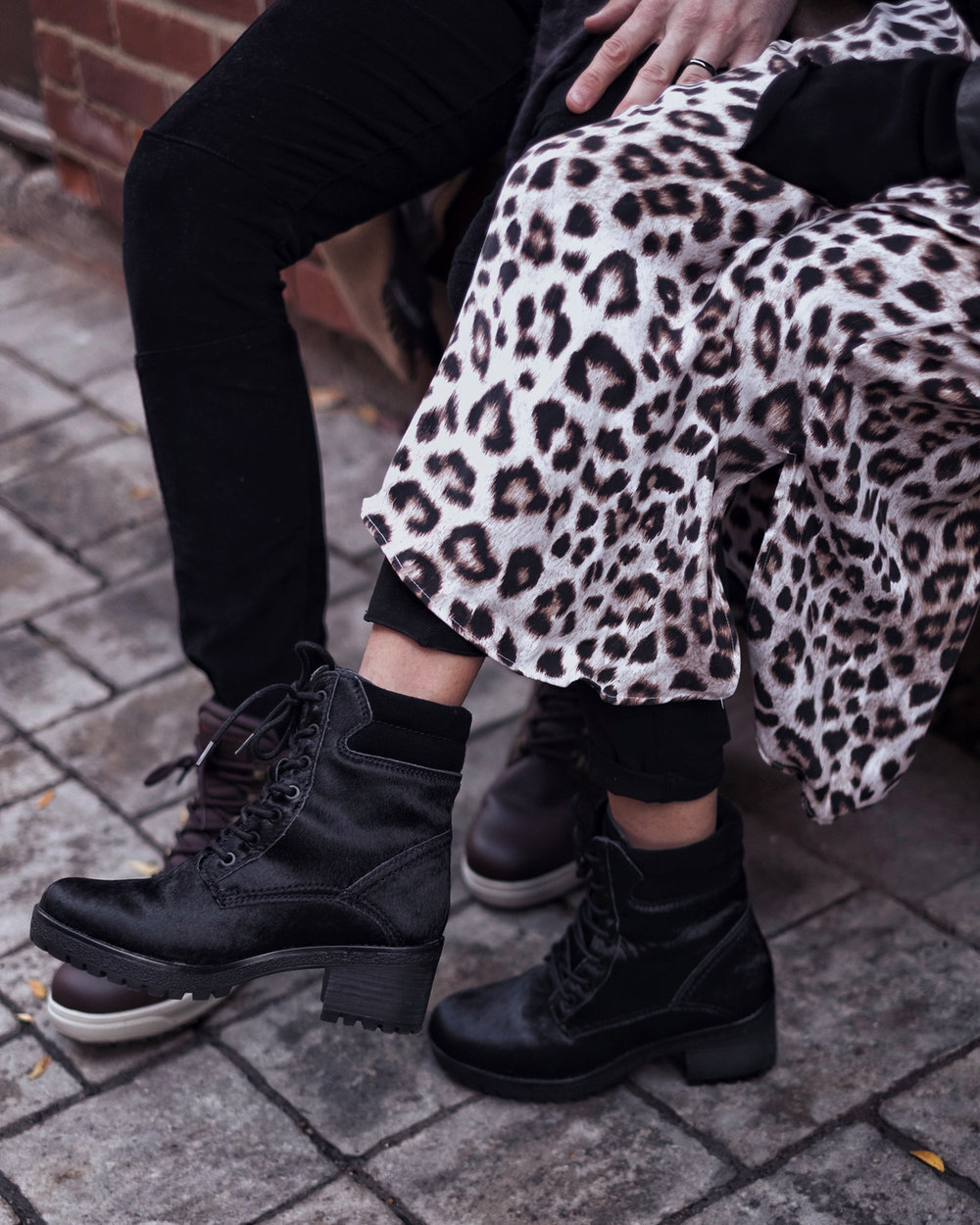 Leopard pring silk dress by Equipment - cute Fashionable WInter boots by Cougar - men's Cranston boots and womens Darbi boots - photos by Melanie Rees for woahstyle.com for Nathalie Martin.JPG