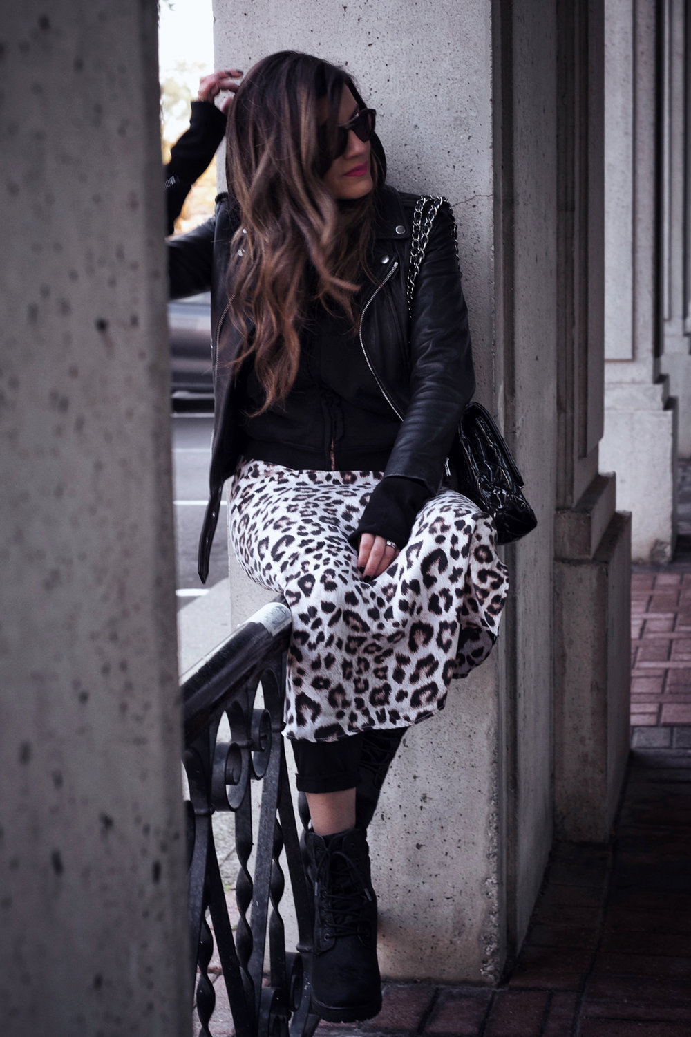The Kooples leather moto jacket, Frank & Eileen hoodie and joggers, Equipment leopard print silk dress, Cougar Darbi Small Batch boots - photos by Melanie Rees for woahstyle.com by nathalie martin.JPG