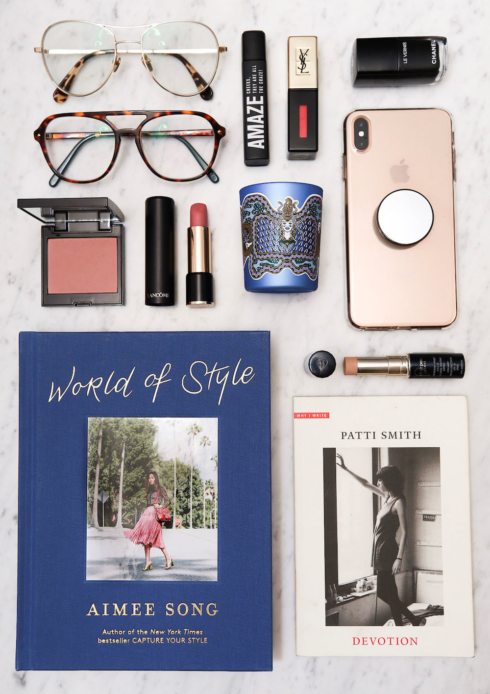 bonlook aviator glasses, diptyque holiday 2018 amber balm candel, lancome lipstick 274 sensualité, laura mercier chai blush, patti smith devotion book, chanel nail polish in celebrtity, cle de peau concealer, isabel marant x l'oreal amaze - woahstyle.jpg