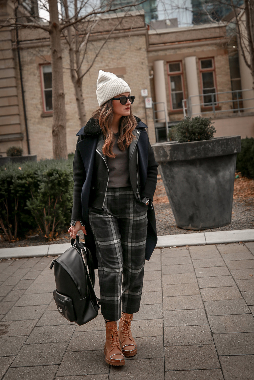 Nathalie Martin wearing Aritzia Chambery plaid pant, Rudsak Mythos leather:shearling jacket, Alexander Wang Lyndon boots, Acne Studios Pansy face beanie ivory, Saint Laurent blue square glasses, Rag & Bone wool reversible coat, woahstyle.com_4412.jpg