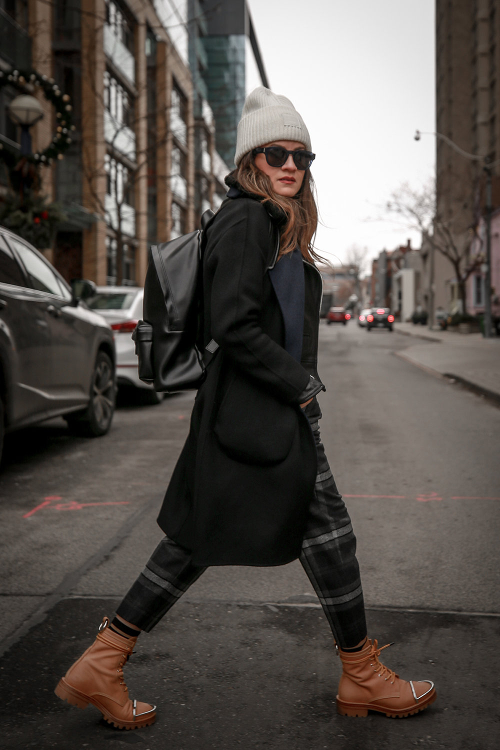 Nathalie Martin wearing Aritzia Chambery plaid pant, Rudsak Mythos leather:shearling jacket, Alexander Wang Lyndon boots, Acne Studios Pansy face beanie ivory, Saint Laurent blue square glasses, Rag & Bone wool reversible coat, woahstyle.com_4440.jpg