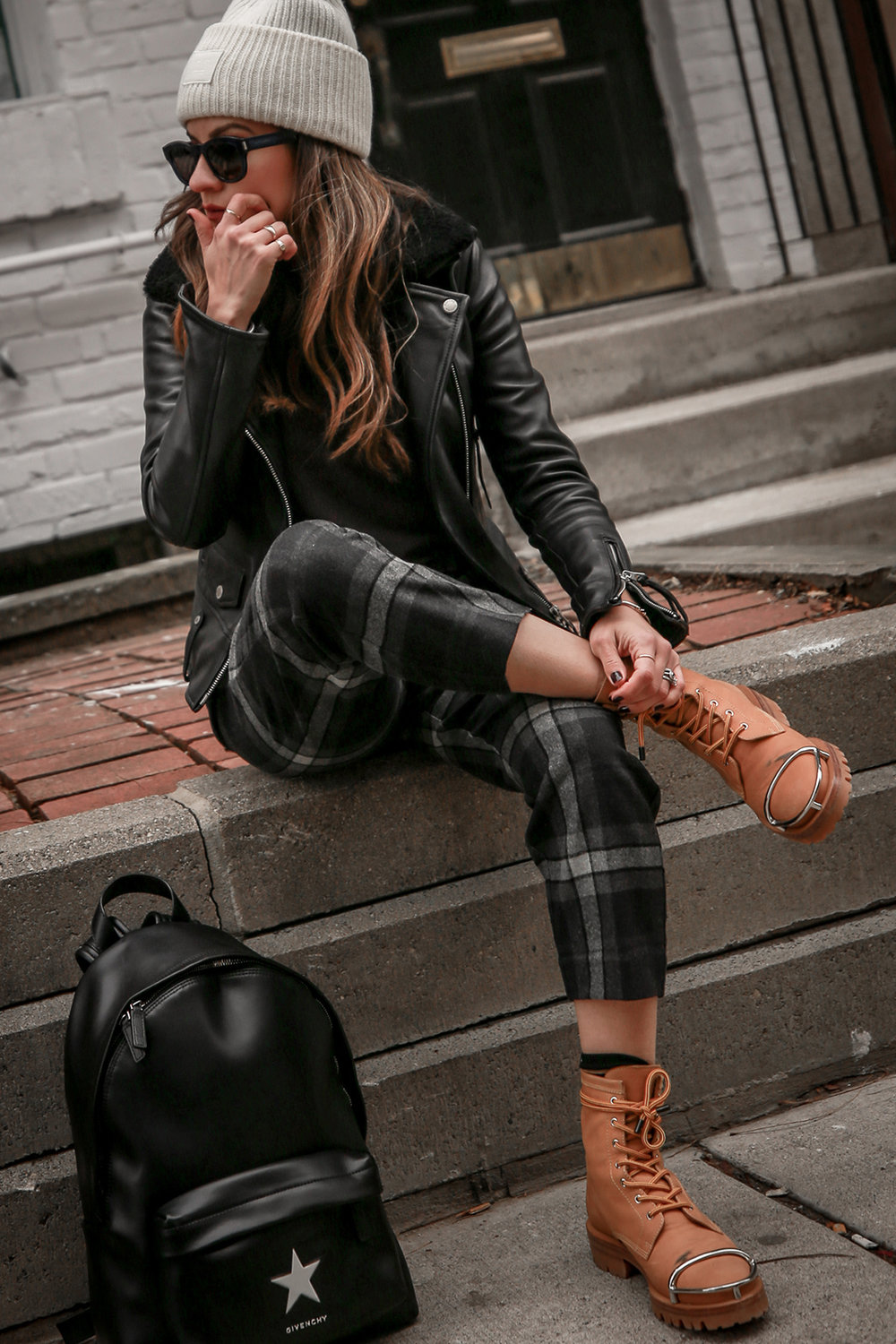 Nathalie Martin wearing Aritzia Chambery plaid pant, Rudsak Mythos leather:shearling jacket, Alexander Wang Lyndon boots, Acne Studios Pansy face beanie ivory, Saint Laurent blue square glasses, Rag & Bone wool reversible coat, woahstyle.com_4487.jpg