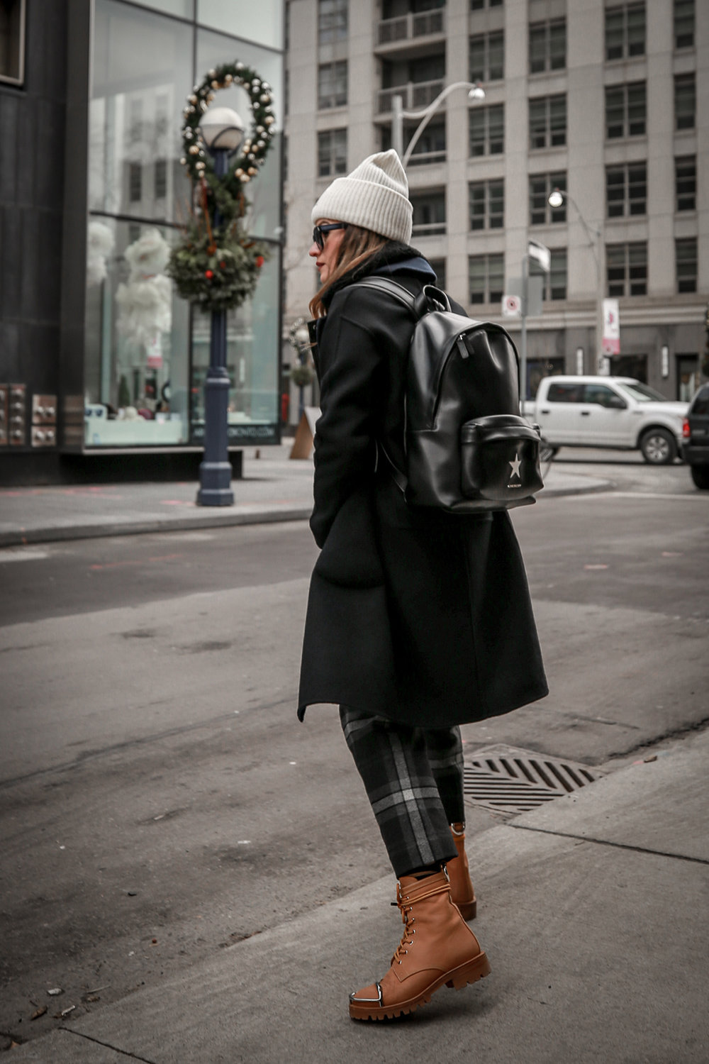 Nathalie Martin wearing Aritzia Chambery plaid pant, Rudsak Mythos leather:shearling jacket, Alexander Wang Lyndon boots, Acne Studios Pansy face beanie ivory, Saint Laurent blue square glasses, Rag & Bone wool reversible coat, woahstyle.com_4525.jpg