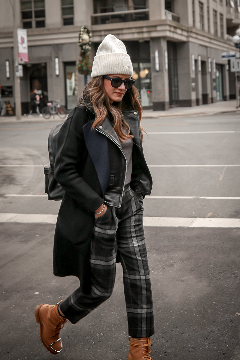 Nathalie Martin wearing Aritzia Chambery plaid pant, Rudsak Mythos leather:shearling jacket, Alexander Wang Lyndon boots, Acne Studios Pansy face beanie ivory, Saint Laurent blue square glasses, Rag & Bone wool reversible coat, woahstyle.com_4562.jpg