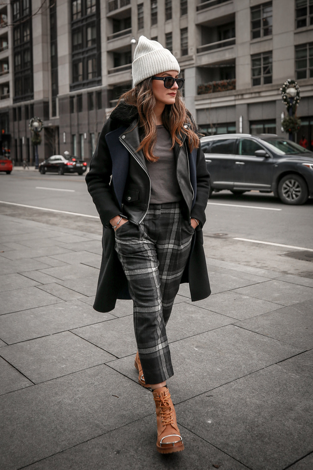 Nathalie Martin wearing Aritzia Chambery plaid pant, Rudsak Mythos leather:shearling jacket, Alexander Wang Lyndon boots, Acne Studios Pansy face beanie ivory, Saint Laurent blue square glasses, Rag & Bone wool reversible coat, woahstyle.com_4598-2.jpg