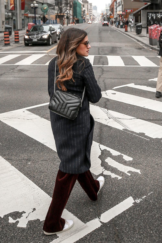 Nathalie Martin Sandro corduroy high waisted pants, Aritzia pinstriped wool Stedman coat, Frank & Oak sweatshirt, Saint Laurent canvas sneakers and small LouLou Bowling Bag, streetstyle, woahstyle.com_4227.jpg