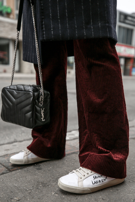 Nathalie Martin Sandro corduroy high waisted pants, Aritzia pinstriped wool Stedman coat, Frank & Oak sweatshirt, Saint Laurent canvas sneakers and small LouLou Bowling Bag, streetstyle, woahstyle.com_4260.jpg