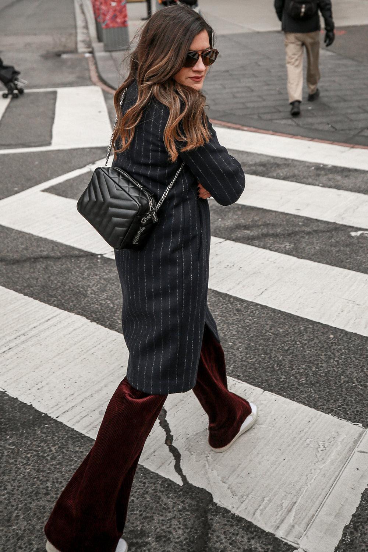 Nathalie Martin Sandro corduroy high waisted pants, Aritzia pinstriped wool Stedman coat, Frank & Oak sweatshirt, Saint Laurent canvas sneakers and small LouLou Bowling Bag, streetstyle, woahstyle.com_4232.jpg