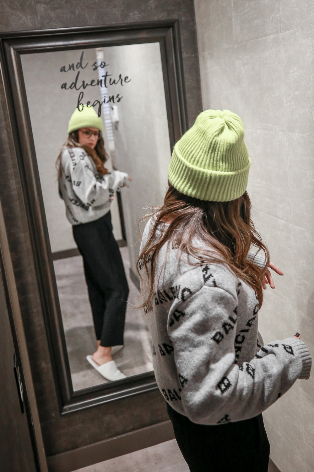 Nathalie Martin wearing Balenciaga logo sweater, Saint Laurent canvas sneakers, and neon green beanie and Bonlook Jerry glasses, streetstyle, woahstyle.com_3830.jpg